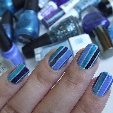 Blue stripes nail art by Barbara P.