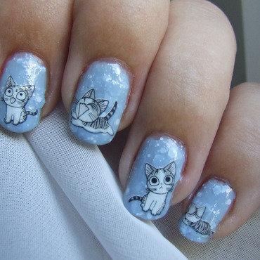 Kitty nail art by Barbara P.