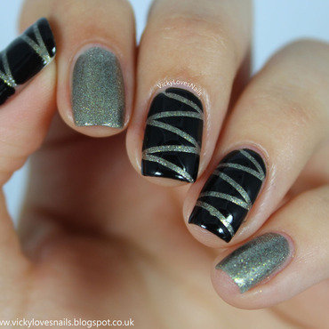Silver and Black Zig Zags nail art by Vicky Standage
