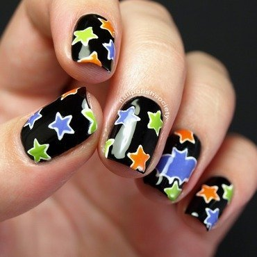 Halloween Night Sky nail art by Emiline Harris