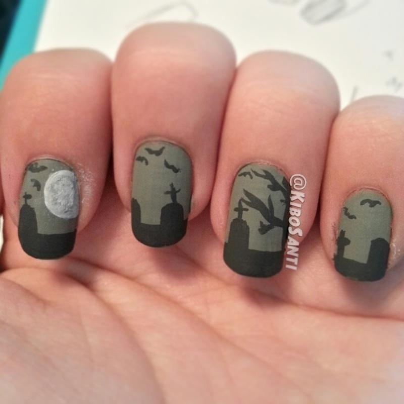October challenge day 27 Graveyard  nail art by KiboSanti