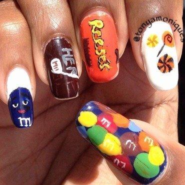 Halloween Candy nail art by Tonya Simmons