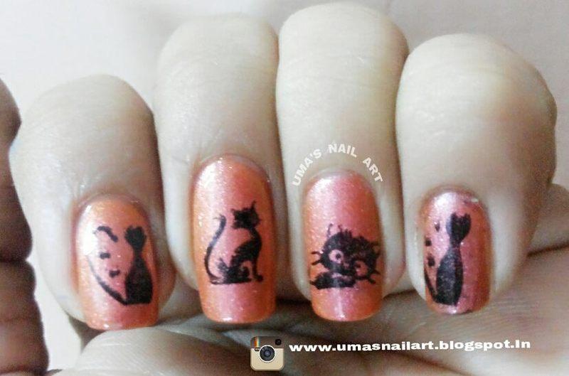kitties..... nail art by Uma mathur