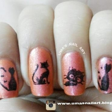 kitties..... nail art by Uma mathur