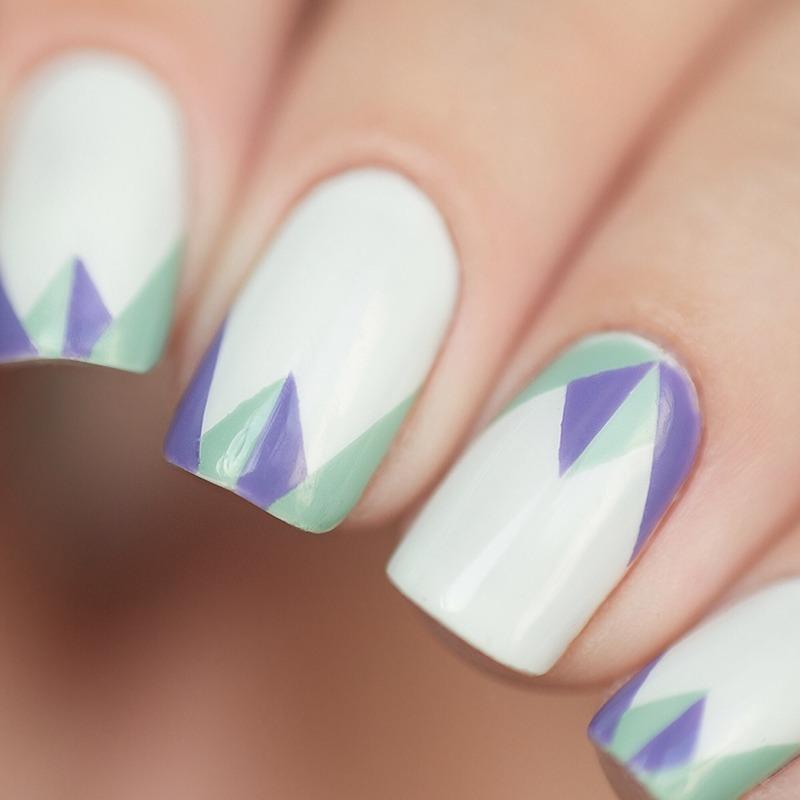 Mint and purple macro nail art by Treviginti
