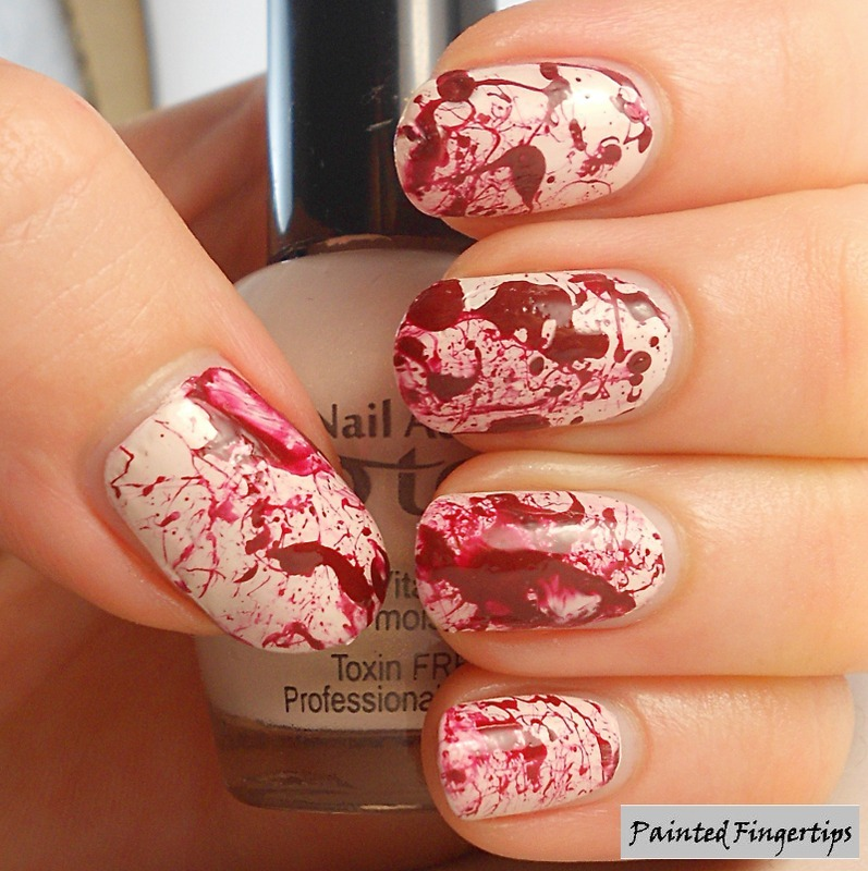 Blood Spatter nail art by Kerry_Fingertips