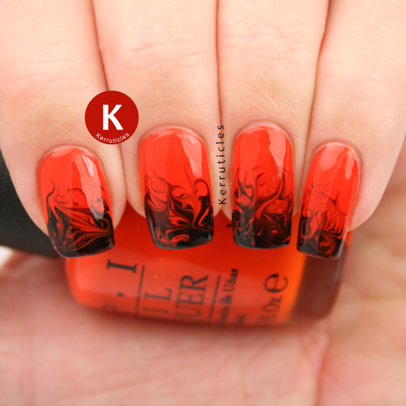 Orange And Black Needle Drag Dry Marble Nail Art By