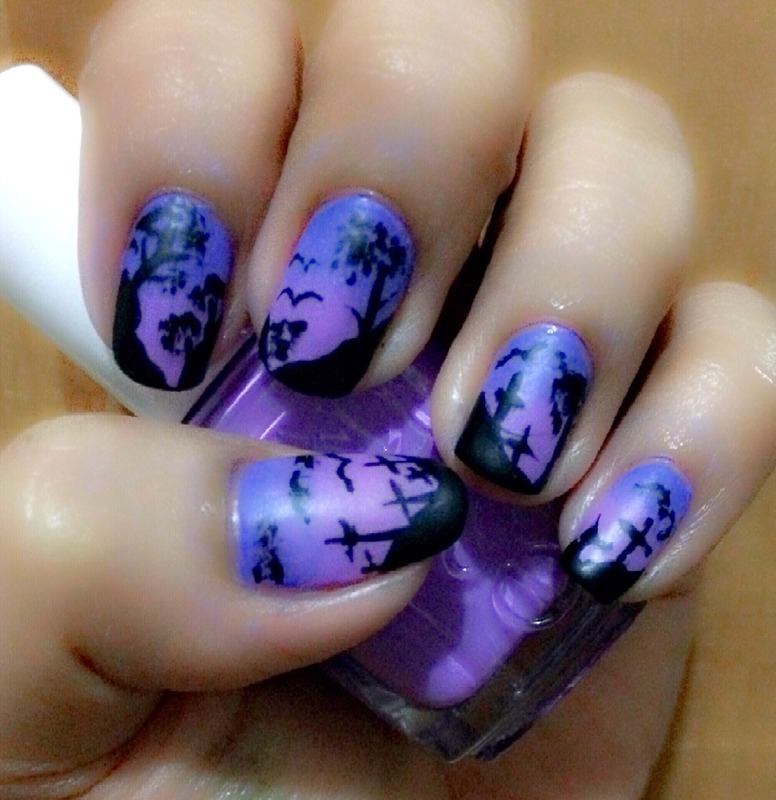 Halloween Cemetery Nail Art by