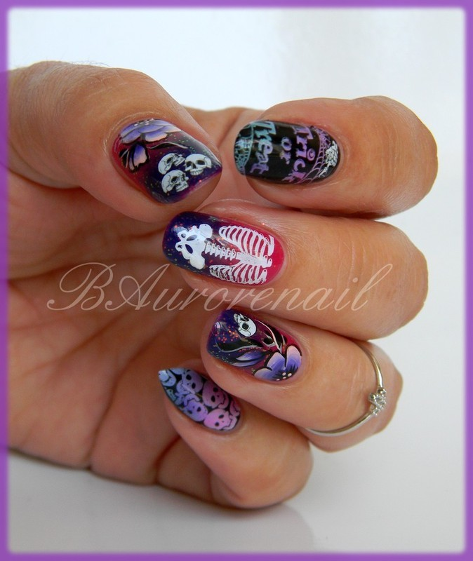 nail art halloween nail art by BAurorenail