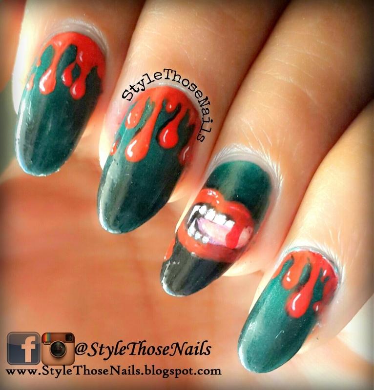 Halloween bloody drip vampire nails nail art by Anita Style Those Nails