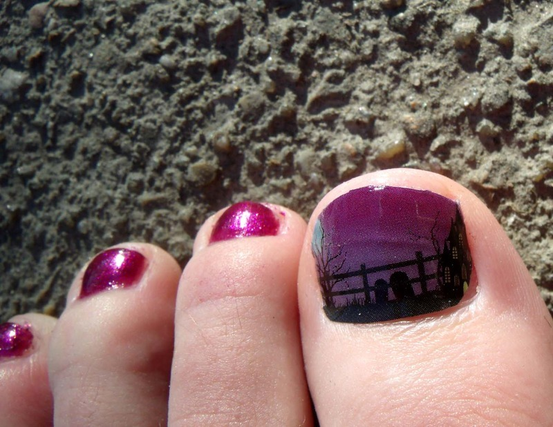Fright Night pedi nail art by Toria Mason