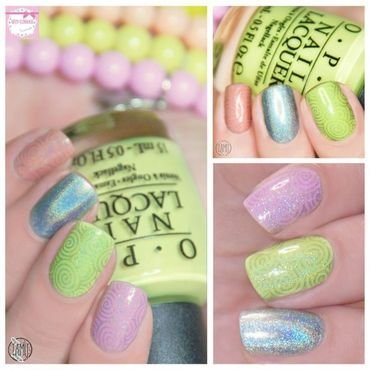 Pastel Holographic Clouds. nail art by Paulina