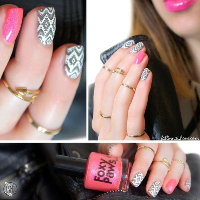 B. Loves Plates ikat stamping. nail art by Paulina