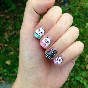 Zombie cupcake nail art by Sara T