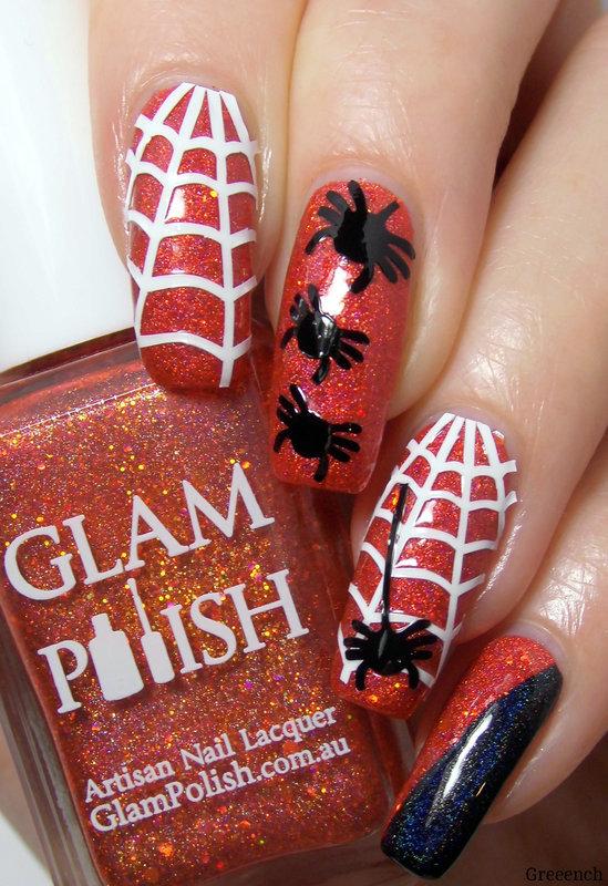 Itsy Bitsy Spider nail art by greeench