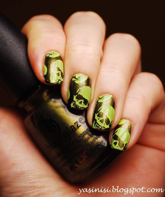 Neon Skulls nail art by Yasinisi