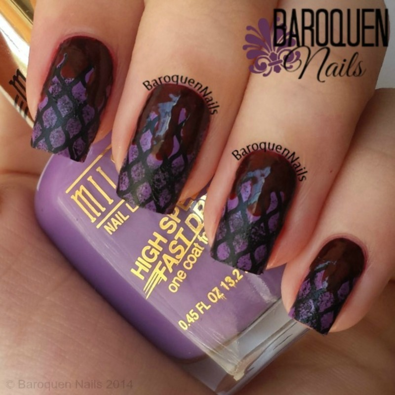 Blood And Fishnets - Matte nail art by BaroquenNails