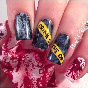 Crime Scene nail art by Playful Polishes