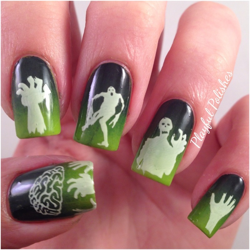 Zombie Nails nail art by Playful Polishes