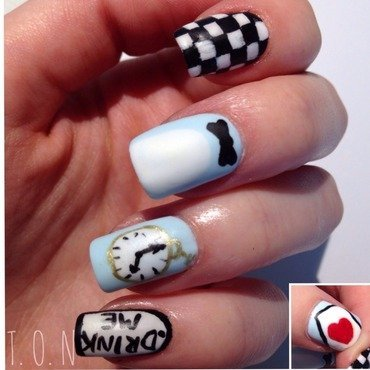 Alice in Wonderland!  nail art by Tipped Off Nails
