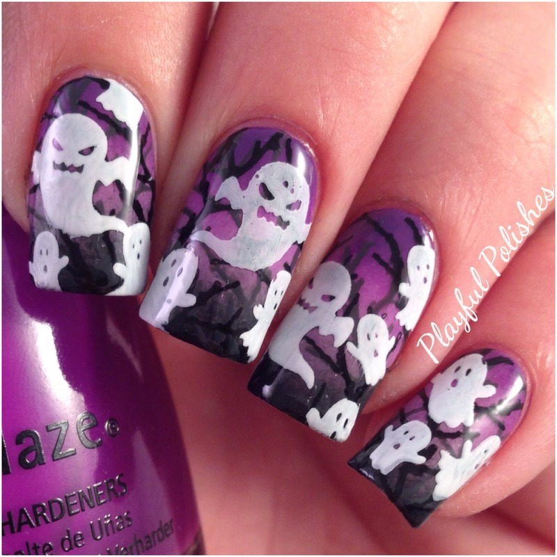Ghost Haunted Forest nail art by Playful Polishes