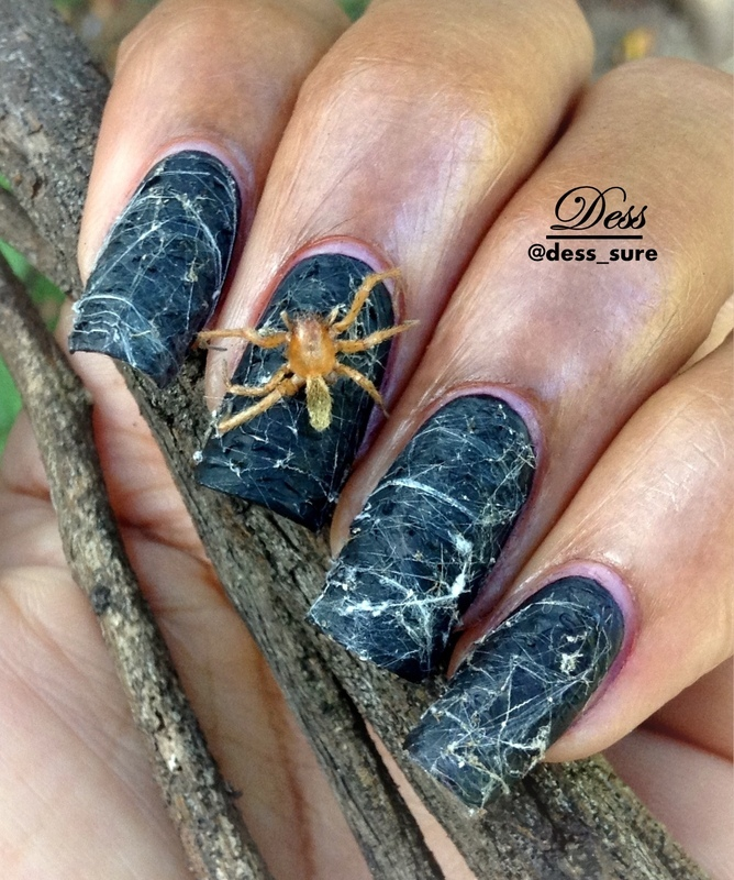Real spider and web nail art by Dess_sure