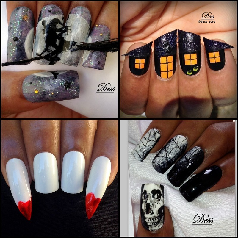 Witch, haunted house, fangs and skull nail art by Dess_sure