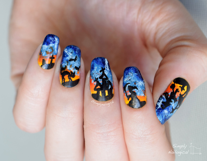Creepy clouds on Halloween night nail art by simplynailogical