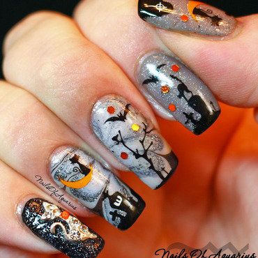 Cat On The Moon nail art by Karolyn