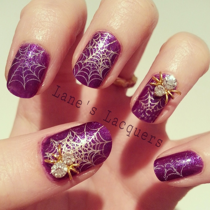 Sparkly Spiders nail art by Rebecca