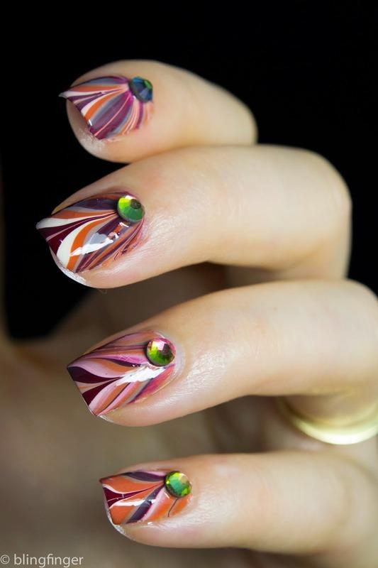 Fall Marble nail art by  Petra  - Blingfinger