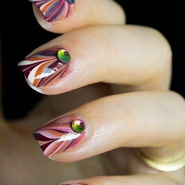Fall Marble nail art by  Petra  - Blingfinger