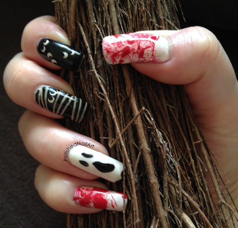 Halloween creepiness nail art by Carrie