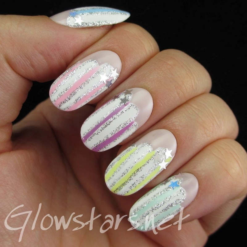 Pastel stripes on clouds nail art by Vic 'Glowstars' Pires