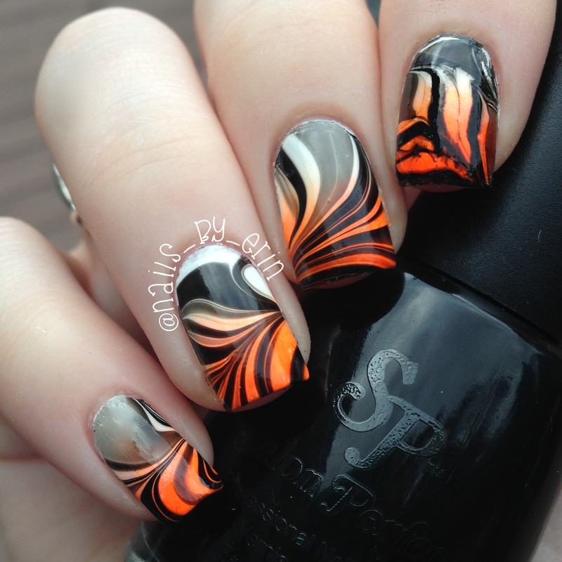 Halloween Watermarble Nails nail art by Erin
