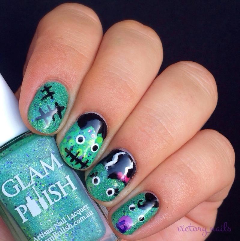Frankenstein family nail art by Nicole