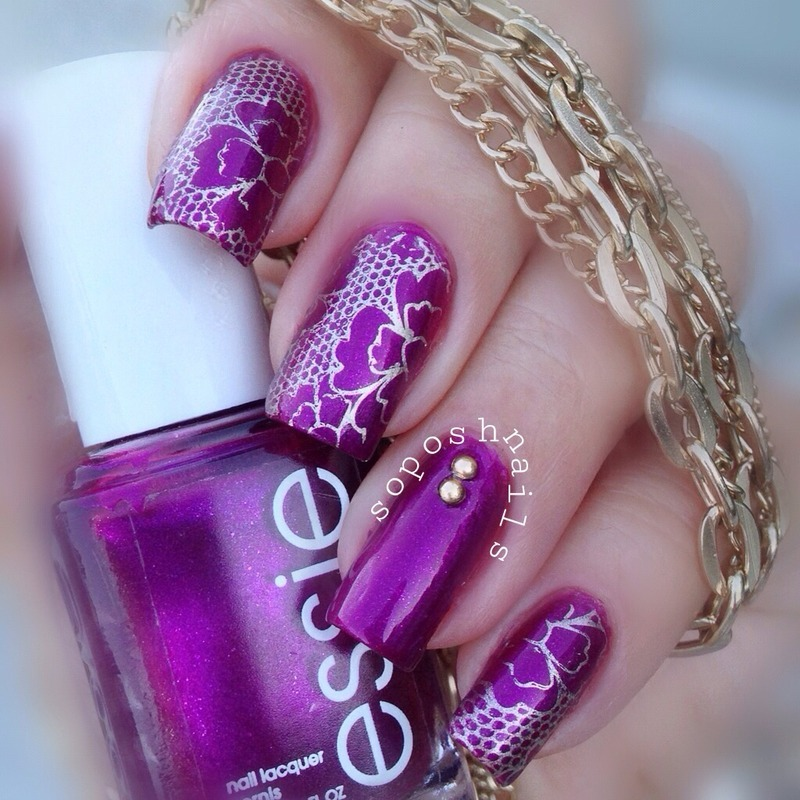 Magenta Shimmer and Gold Lace nail art by Debbie - Nailpolis: Museum ...