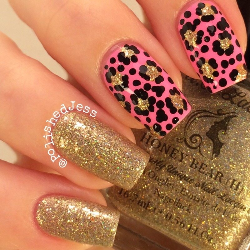 Gold Leopard Mix and Match nail art by PolishedJess