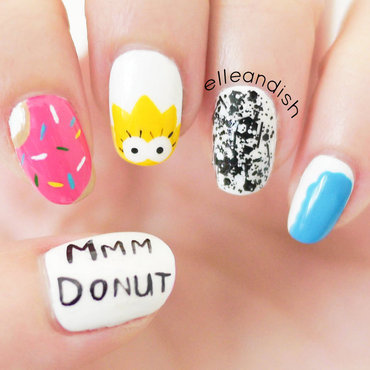 The Simpsons (and Donut) Nail Art nail art by elleandish