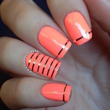 Neon Striping Tape  nail art by Claudia