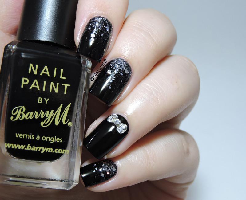 Bow rhinestone nail art by Marine Loves Polish