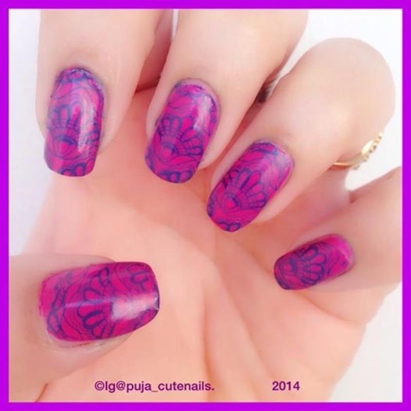 Lace nails nail art by Puja Malhotra