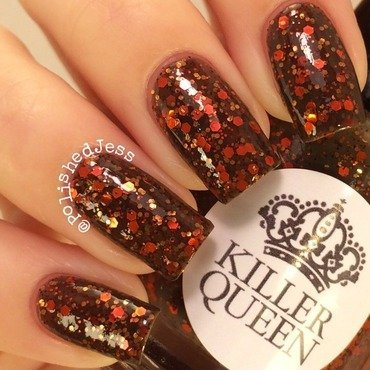 My Dream Polish Gem Glam Top Coat and Killer Queen Varnish These Boots Swatch by PolishedJess