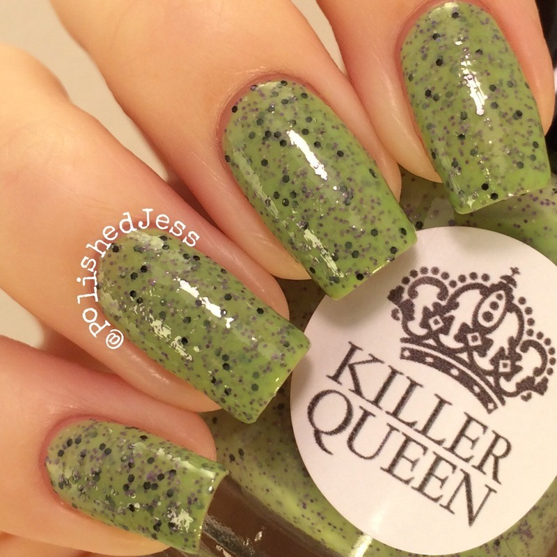 Killer Queen Varnish Feed My Frankenstein and My Dream Polish Gem Glam Top Coat Swatch by PolishedJess