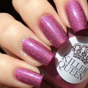 My Dream Polish Gem Glam Top Coat and Killer Queen Varnish Strange Love Swatch by PolishedJess