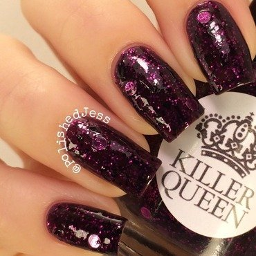 My Dream Polish Gem Glam Top Coat and Killer Queen Varnish Witchy Woman Swatch by PolishedJess