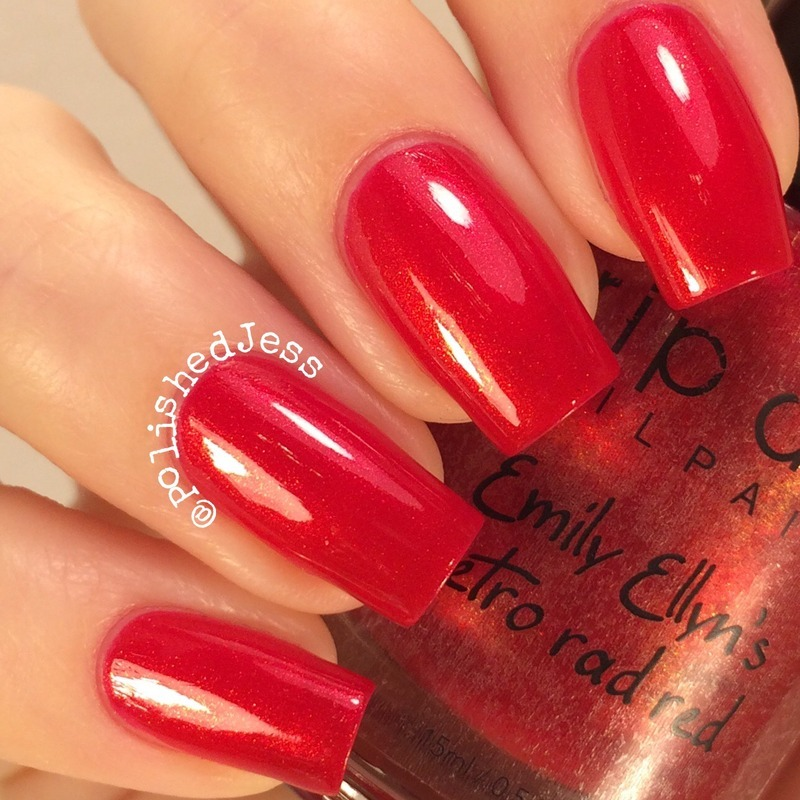 My Dream Polish Gem Glam Top Coat and Drip Drop Nail Paint Emily Ellyn's Retro Rad Red Swatch by PolishedJess