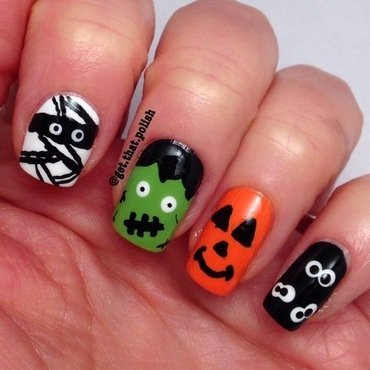 Halloween Monsters nail art by Luciana