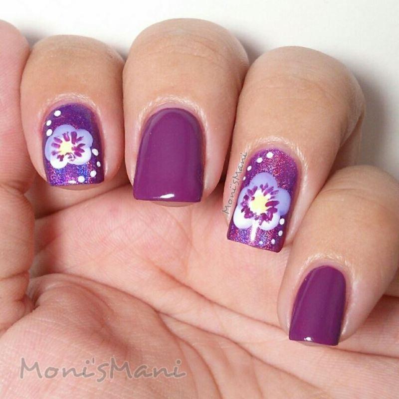 purple orchids nail art by Moni'sMani