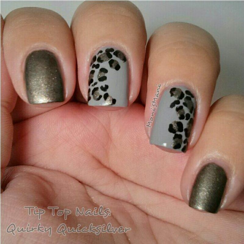 tip top metallic leopard  nail art by Moni'sMani